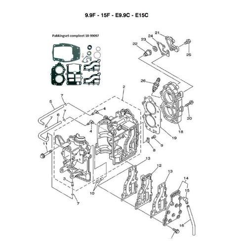 Yamaha + Mariner 9.9 / 15 HP 2-stroke Engine Block Parts