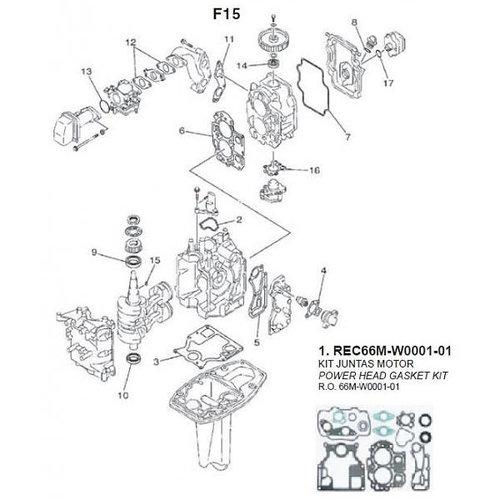 Yamaha / Mercury / Mariner F9.9 / F15 (99-07) blok onderdelen (2)