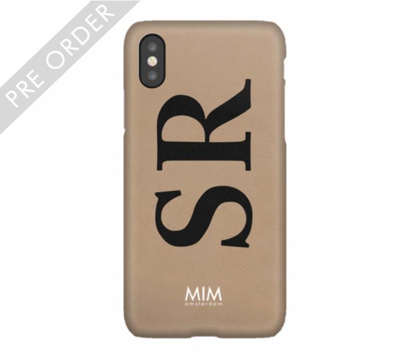 MIM INITIAL CASE (hard case) - taupe/zwart