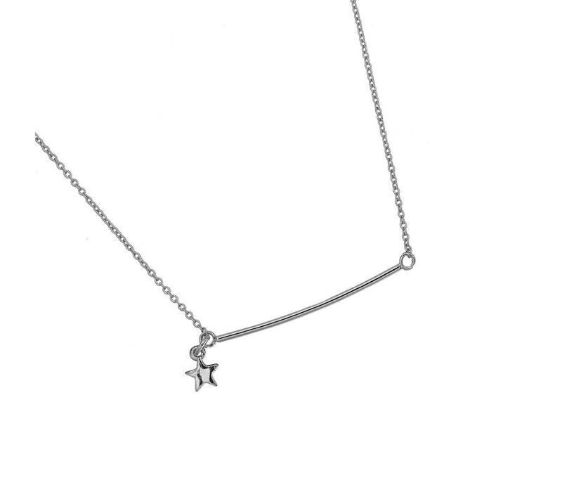 BAR AND STAR NECKLACE  - SILVER