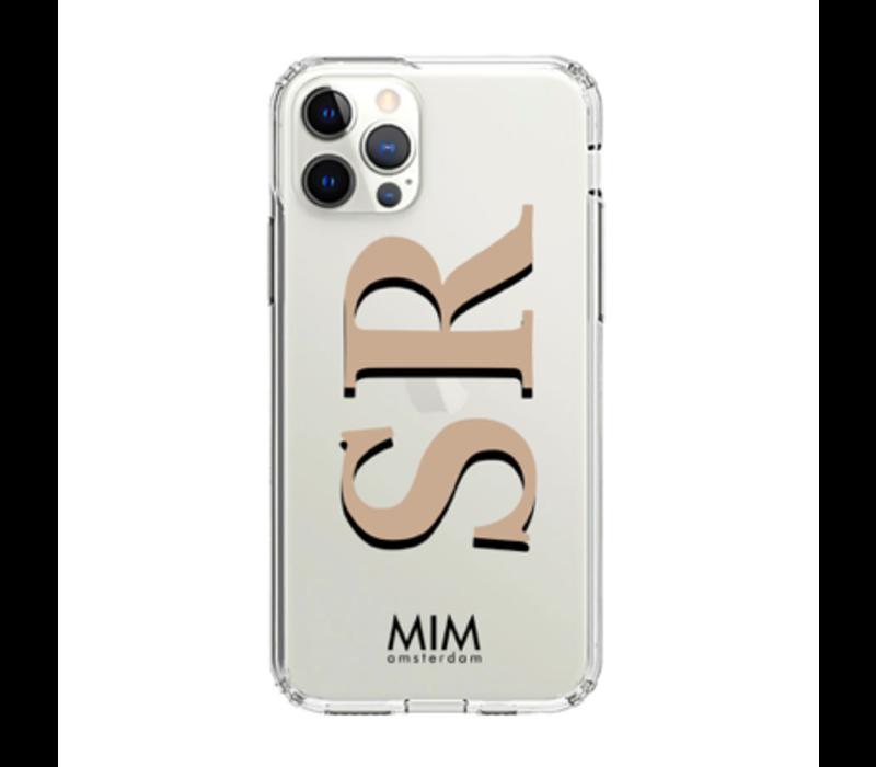 MIM INITIAL GEL CASE (clear case) - taupe/zwart