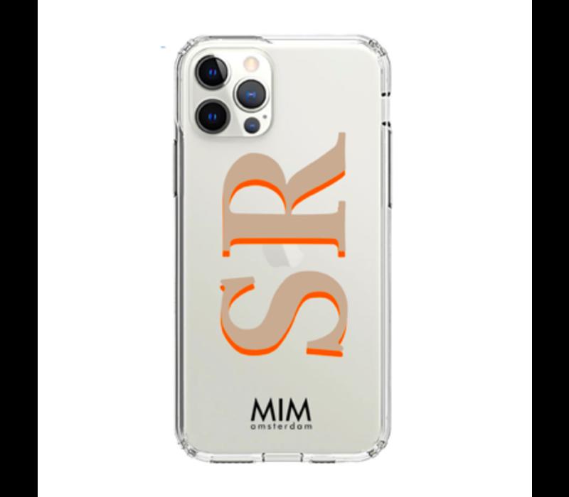 MIM INITIAL GEL CASE ( clear case) - taupe/orange