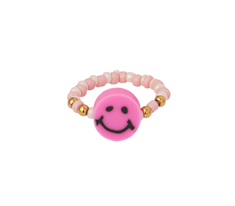 BEADED SMILEY RING  (one size)