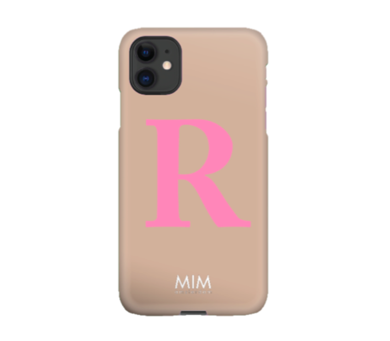 MIM LETTER CASE (hard case) - taupe/pink