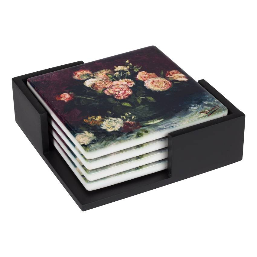 Ceramic Coasters 'Roses and Peonies' - Vincent van Gogh