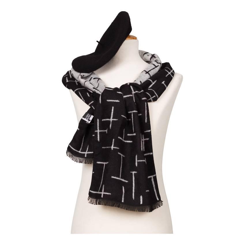 Scarf Mondriaan black & white
