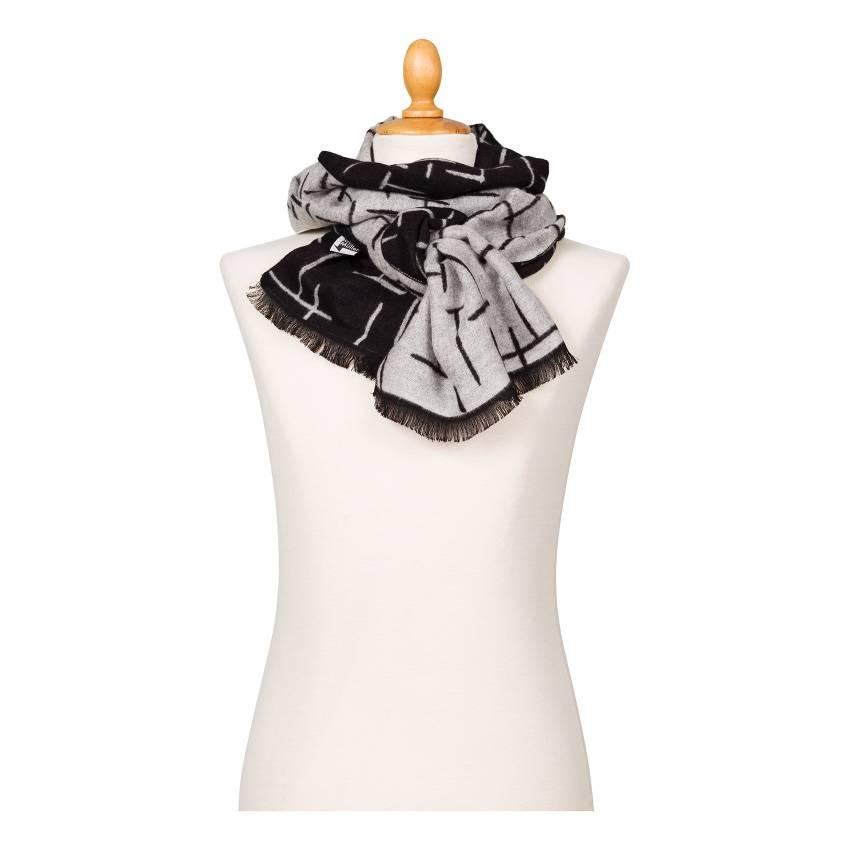 Sjaal viscose Mondriaan zwart wit