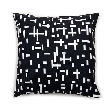 Zwarte kussenhoes kopen met Mondriaan print