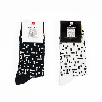 Socks Mondriaan black & white set of two
