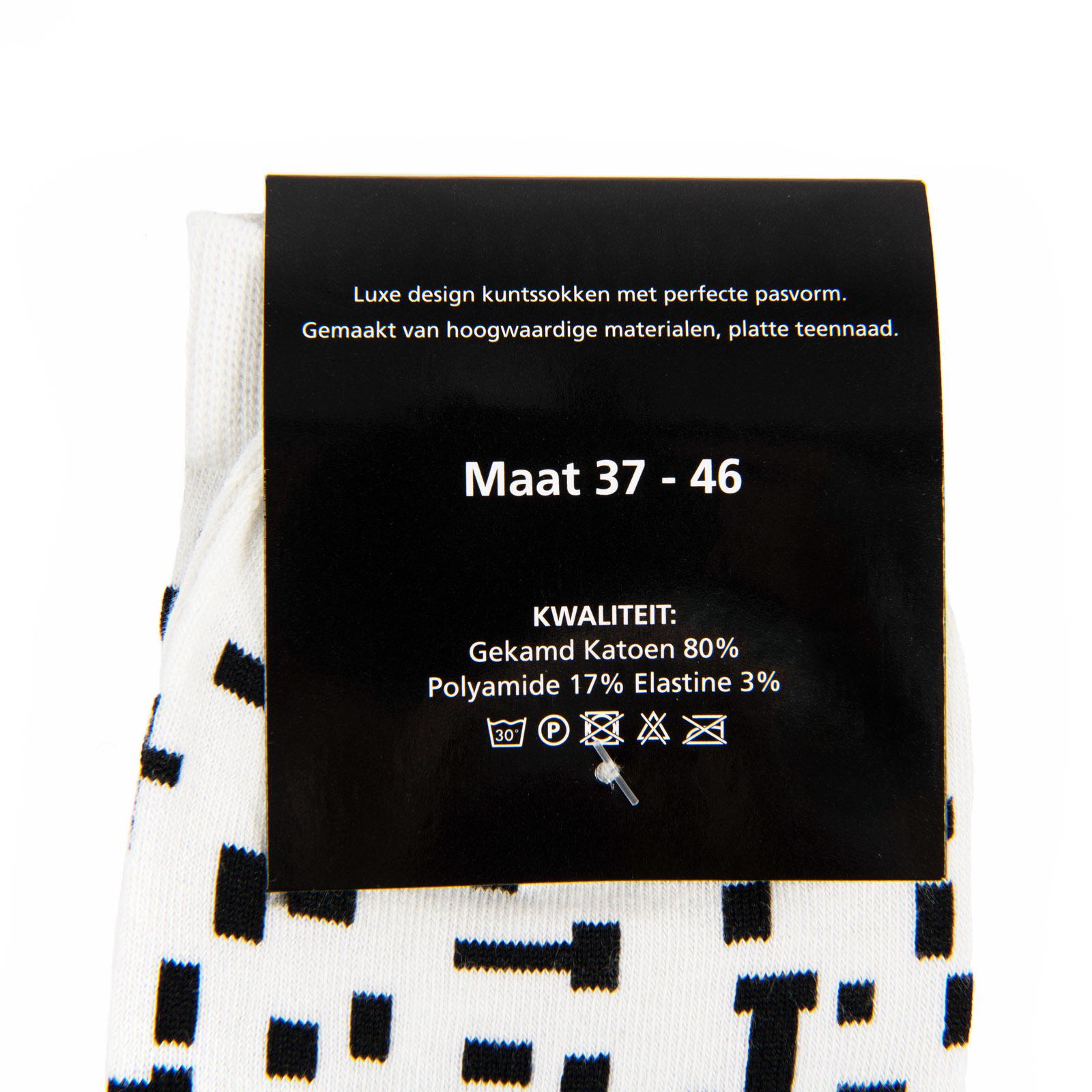 Sokken Mondriaan zwart wit set van twee