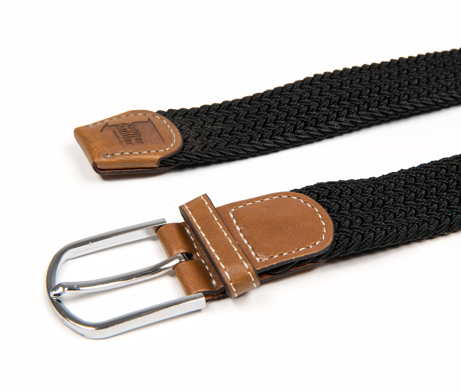 Belt with leather - black