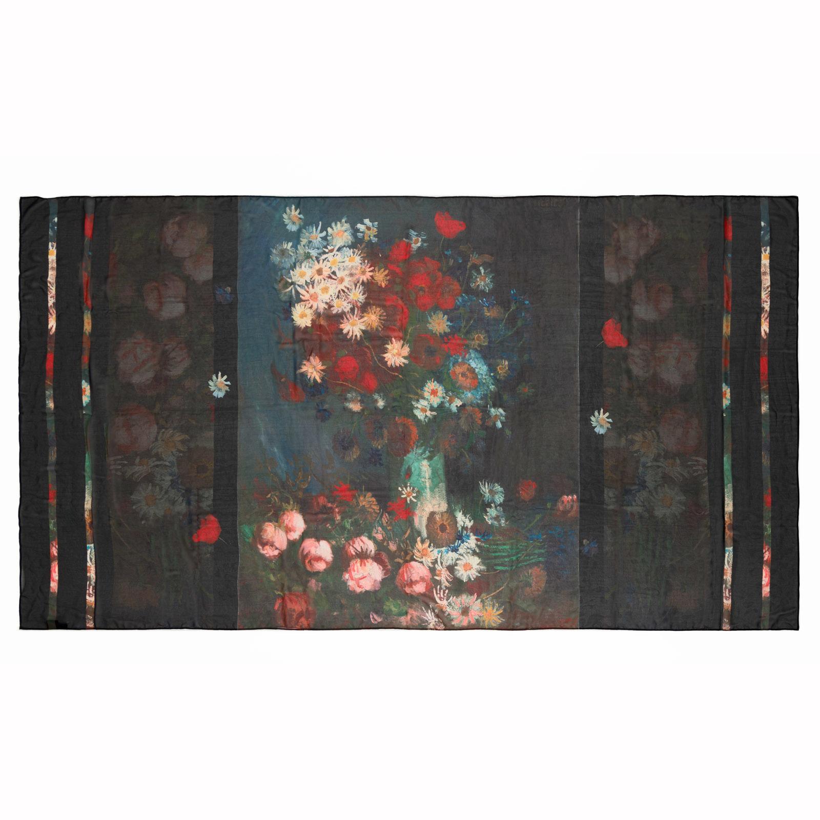 Sjaal - Stilleven met akkerbloemen en rozen