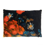 Cushion cover velvet - Still life with meadow flowers and roses