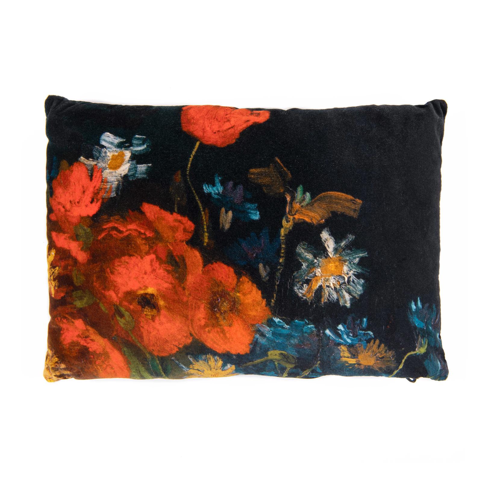 Cushion cover velvet Van Gogh Meadow flowers and roses
