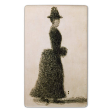 Fridge magnet Seurat Lady with a muff