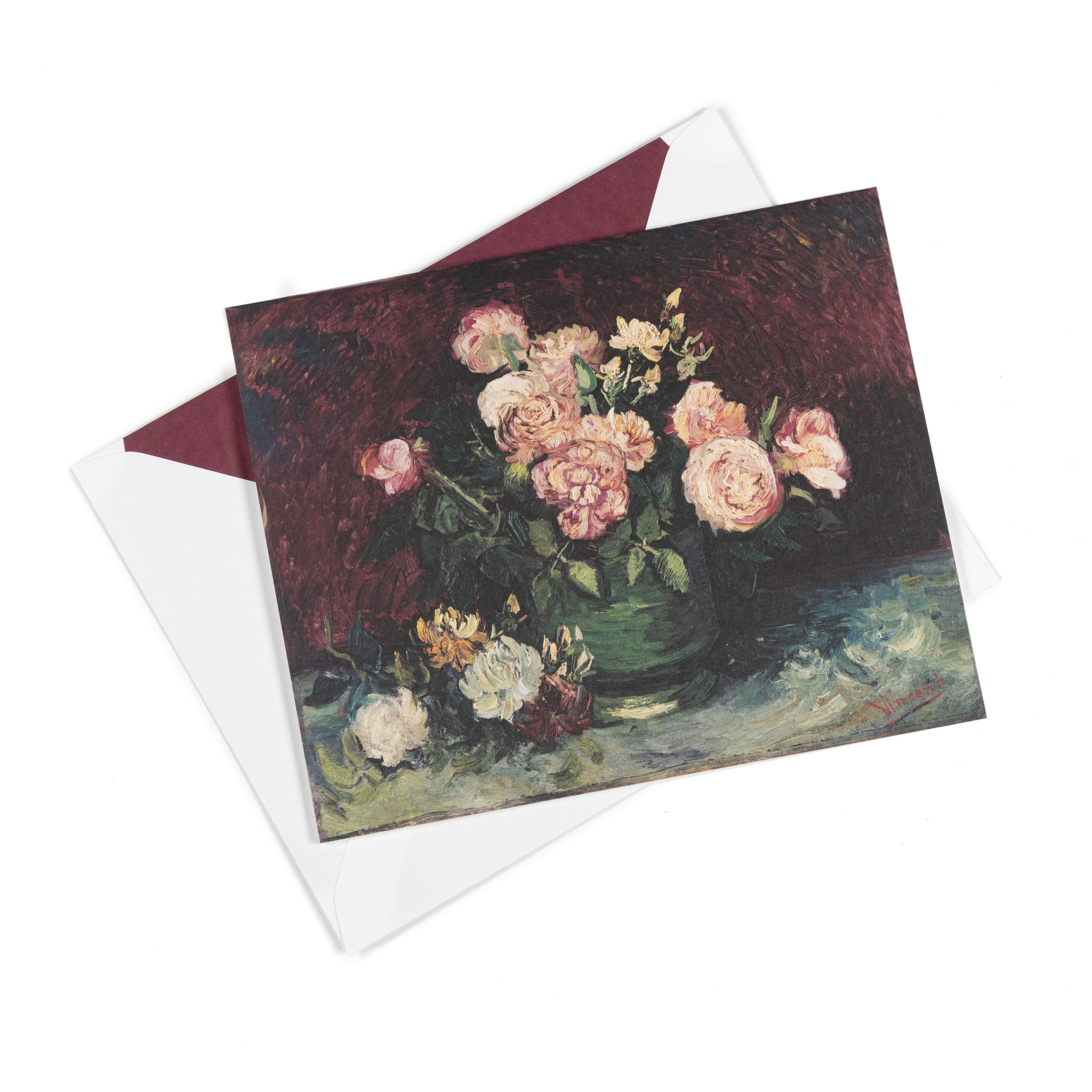 Double card Van Gogh Roses and peonies
