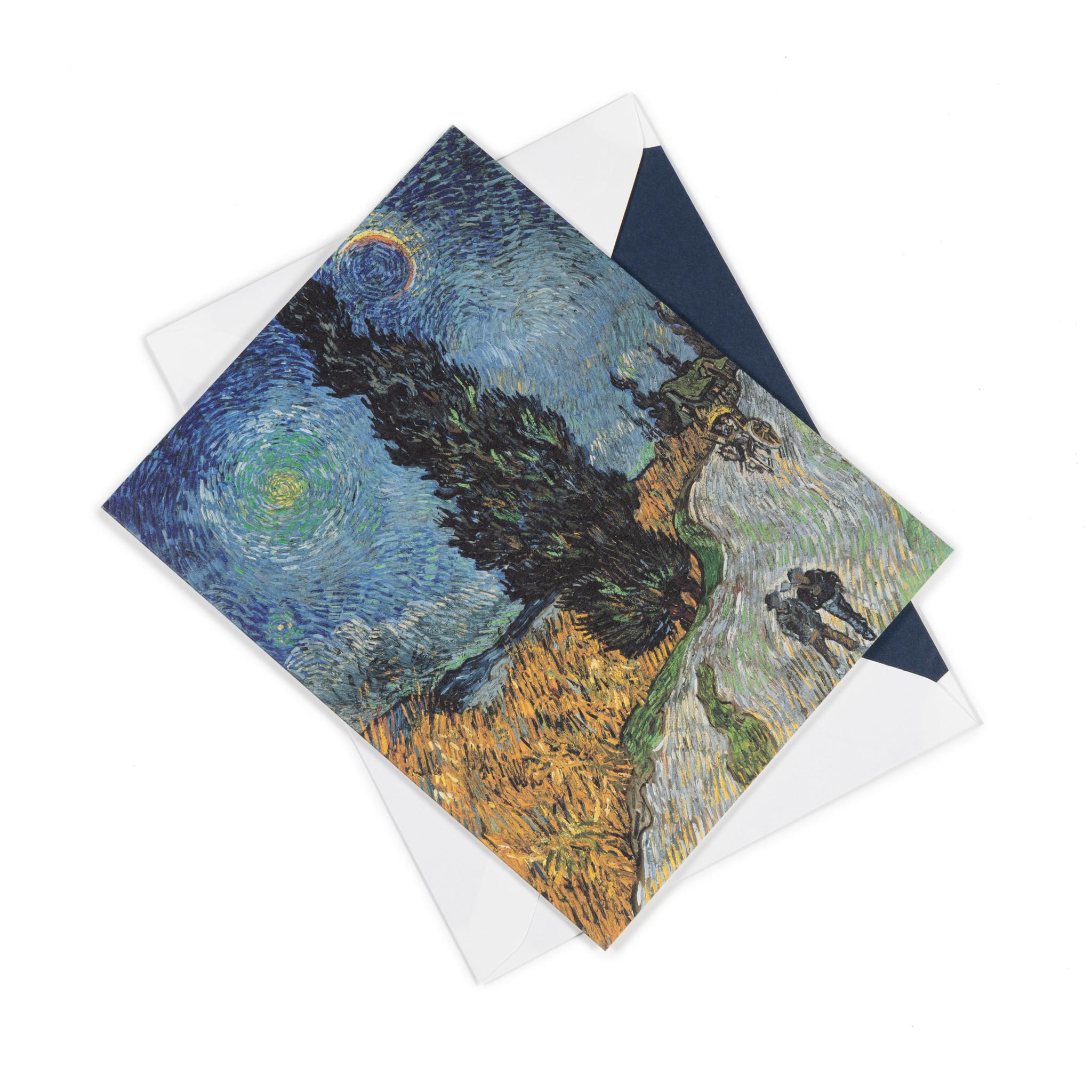 Dubbele kaart Van Gogh - Landweg in de Provence bij nacht