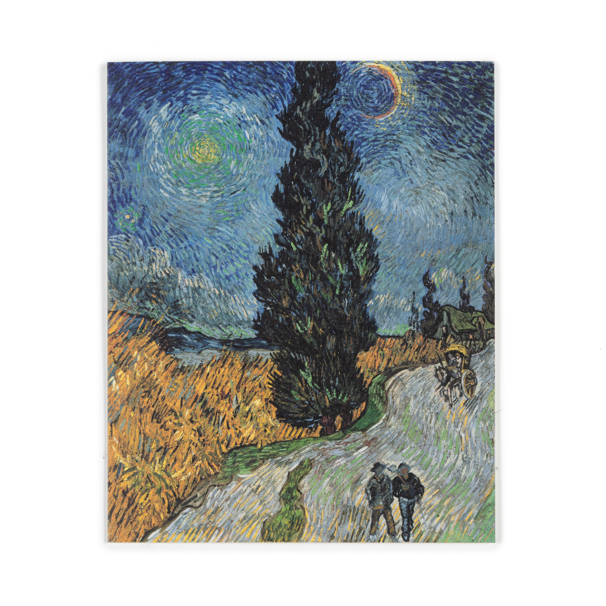 Double card Van Gogh Country road in Provence by night
