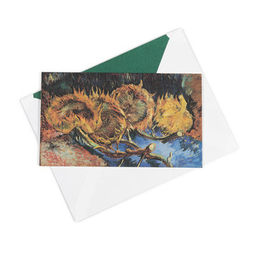 Dubbele kaart Van Gogh Vier uitgebloeide zonnebloemen