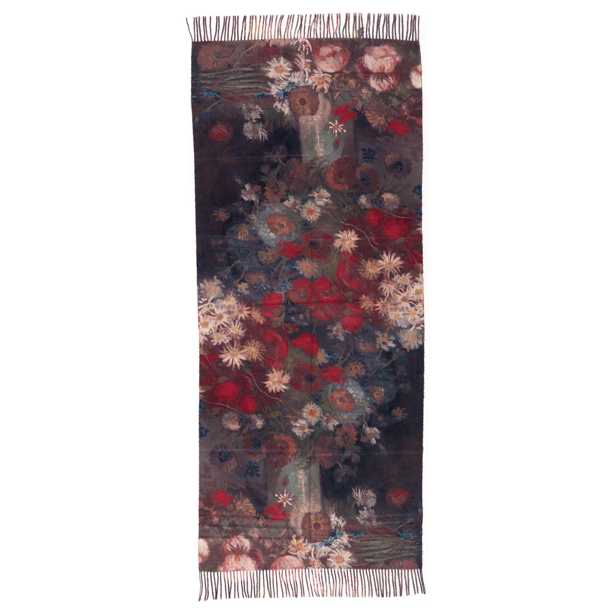 Sjaal viscose Van Gogh tilleven met akkerbloemen en rozen rood