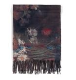 Sjaal viscose Van Gogh Akkerbloemen en rozen zwart