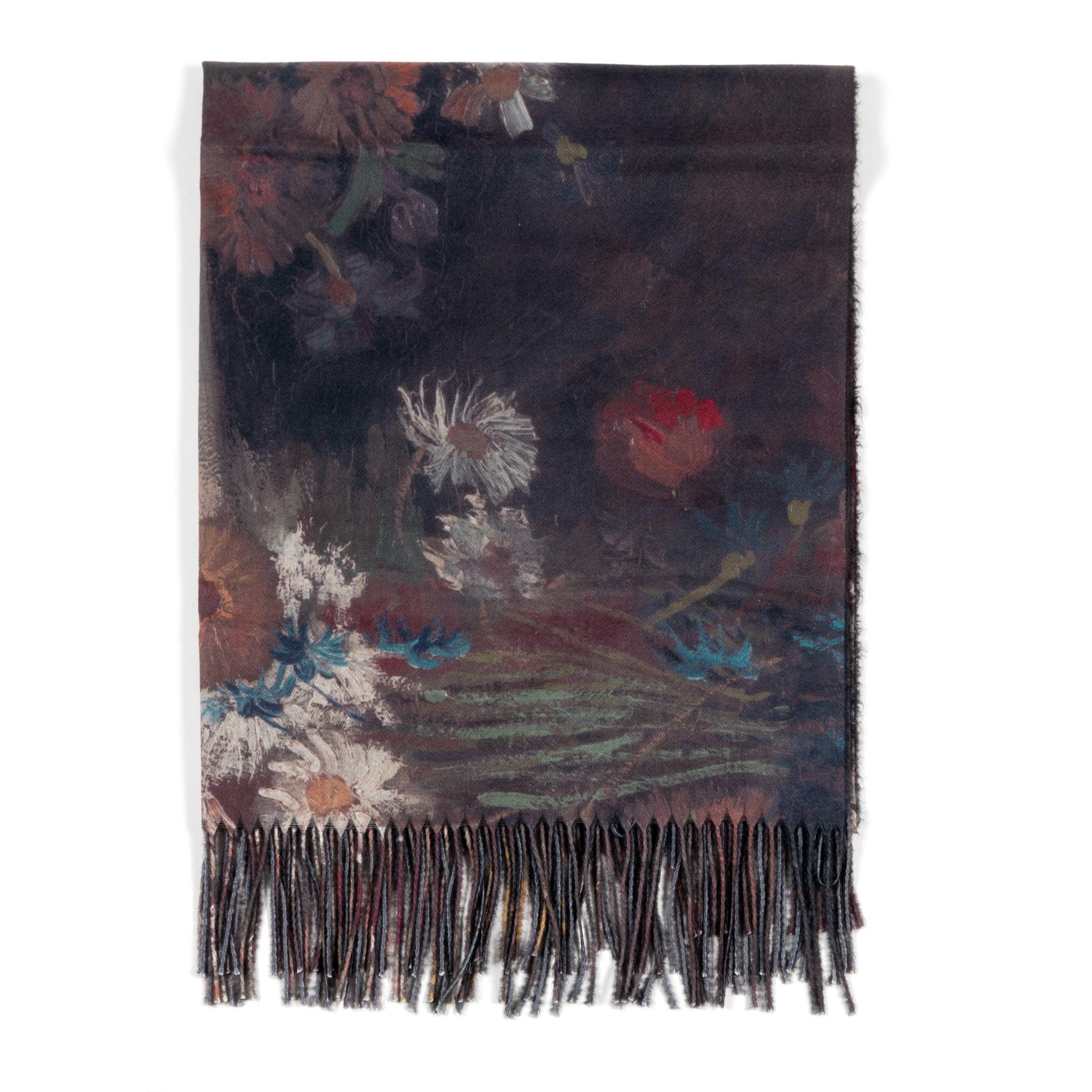 Scarf viscose Van Gogh Meadow flowers and roses black