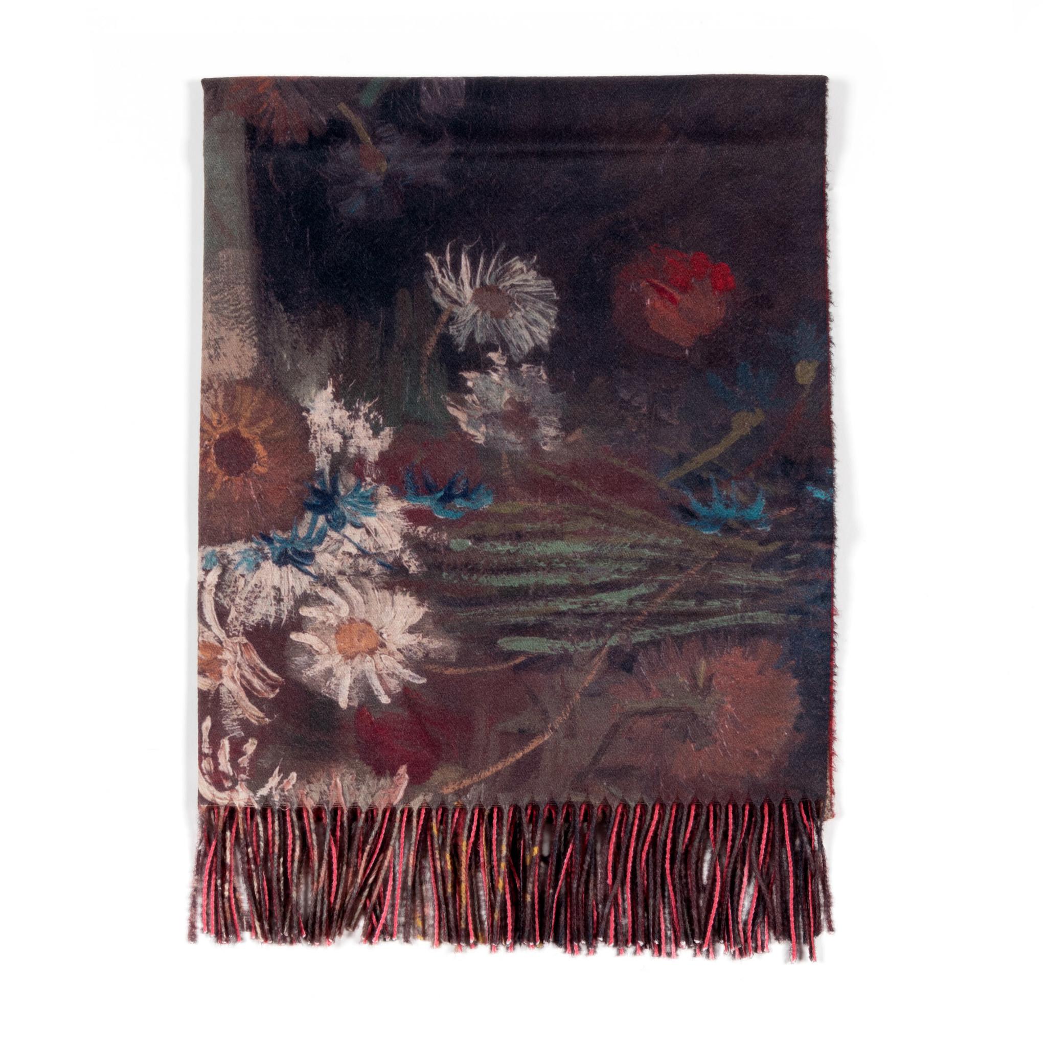 Sjaal viscose Van Gogh Akkerbloemen en rozen rood