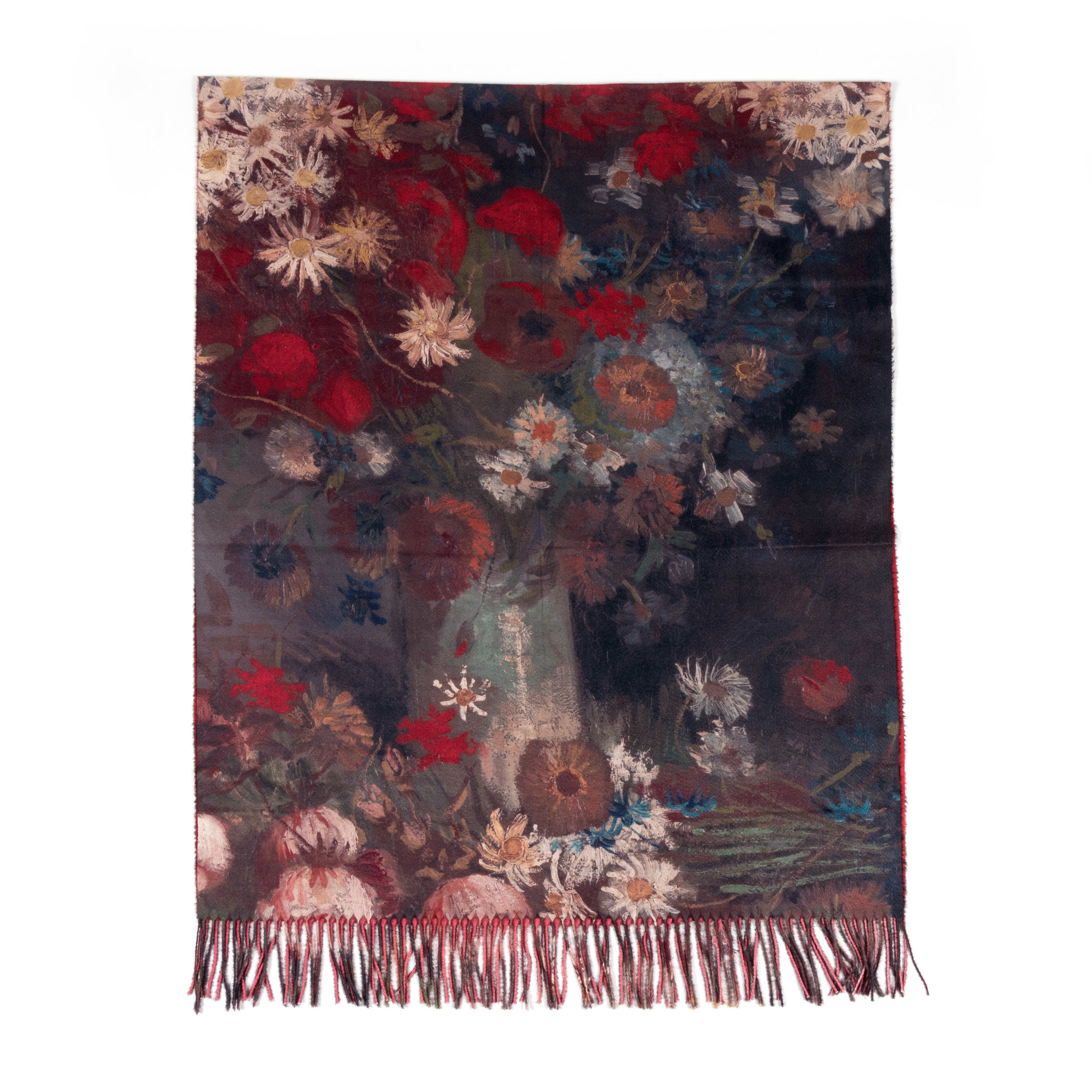 Scarf viscose Van Gogh Still life with meadow flowers and roses red