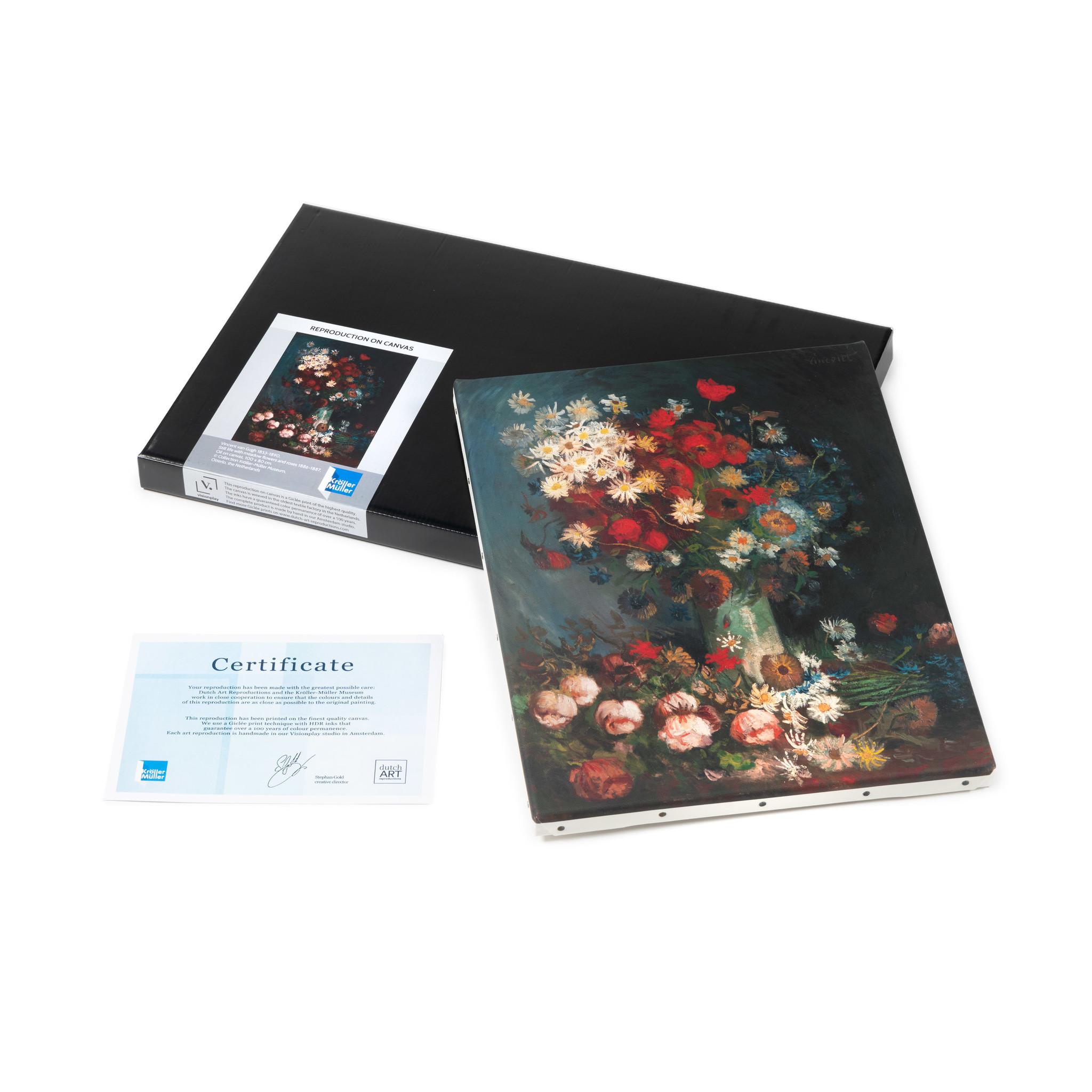 Reproductie canvas Van Gogh Akkerbloemen en rozen