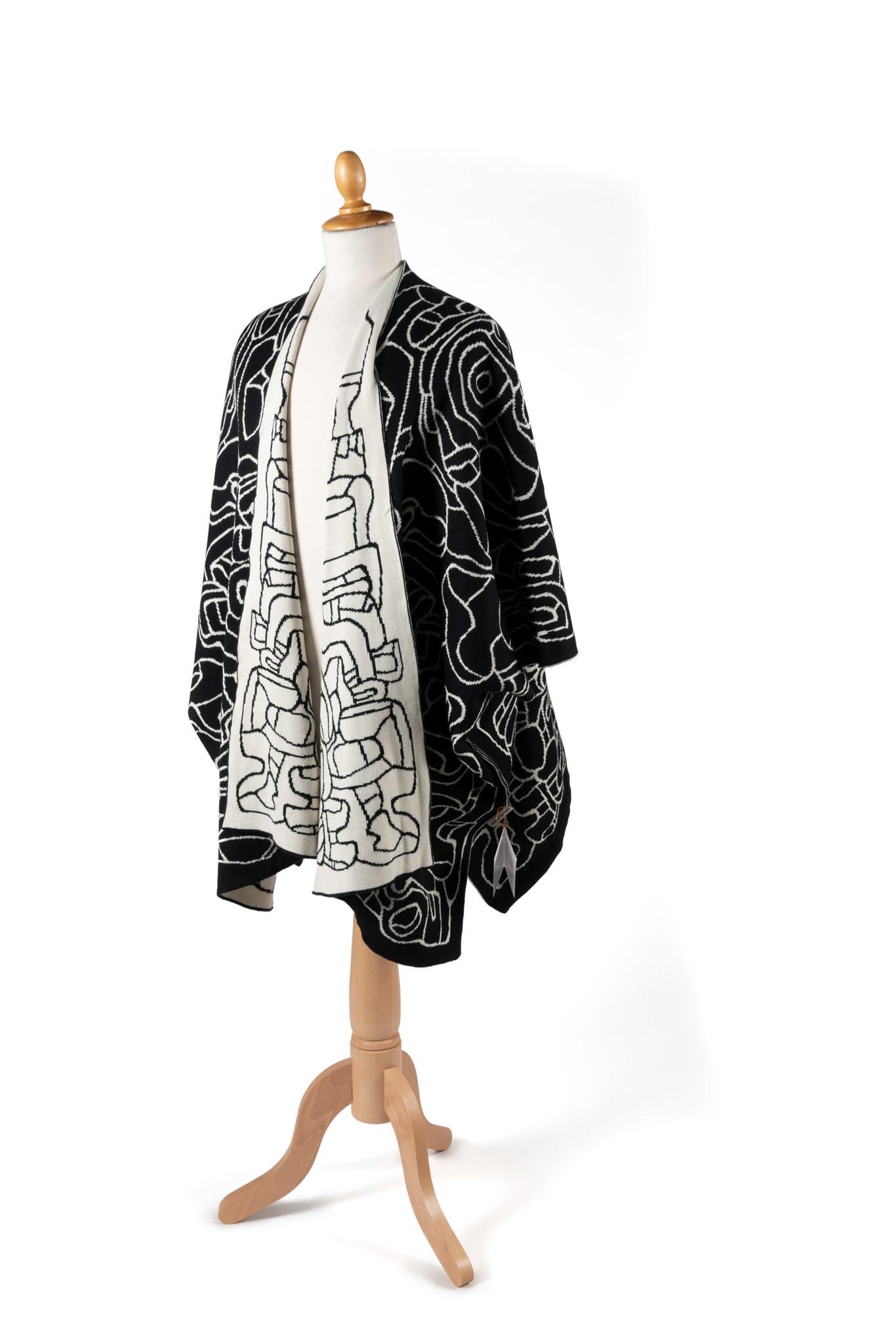 Poncho with scarf: Jardin d'émail