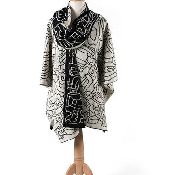 Poncho met sjaal geïnspireerd op Jardin d'émail