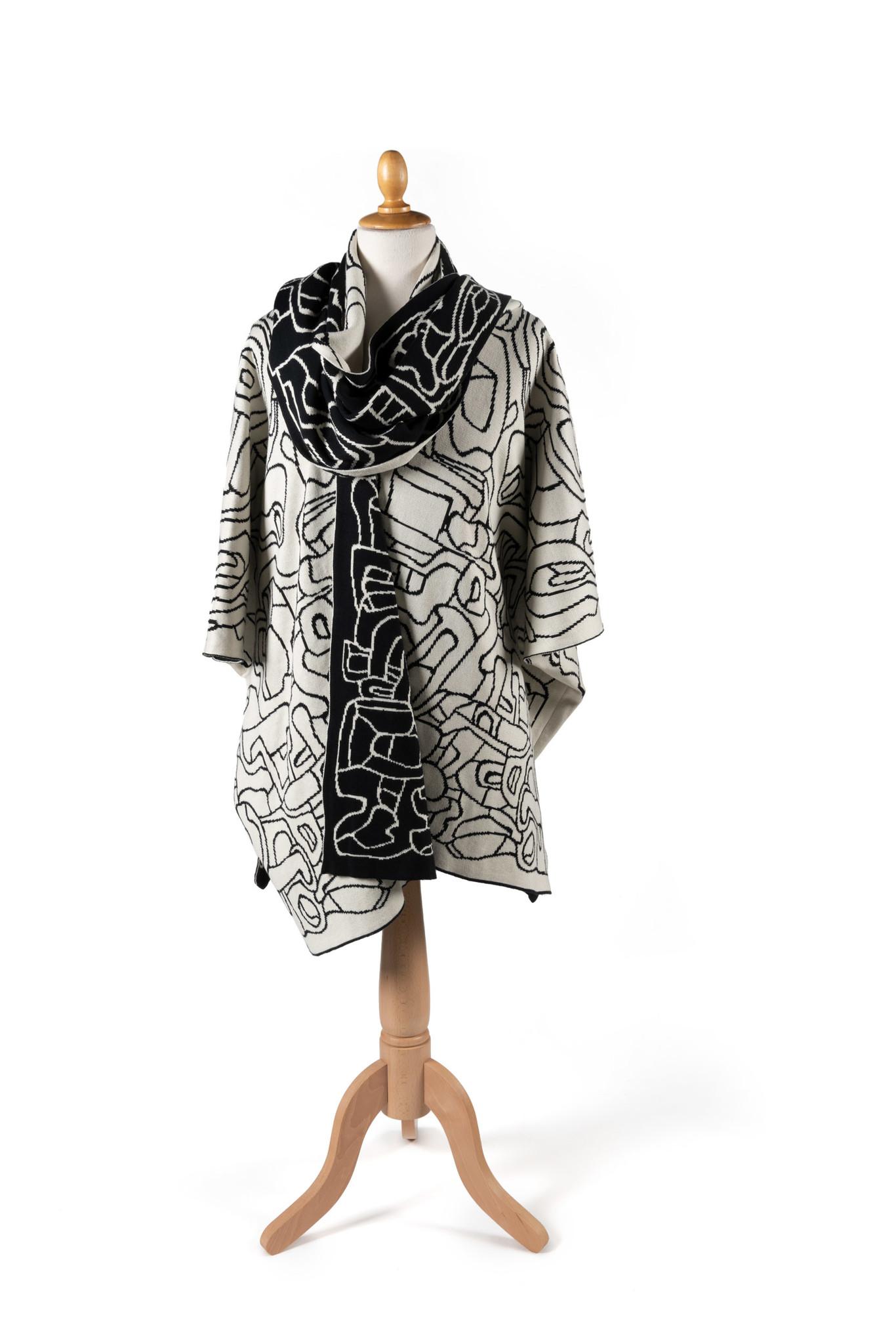 Poncho met sjaal: Jardin d'émail