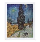 Reproductie Van Gogh Landweg in de Provence bij nacht