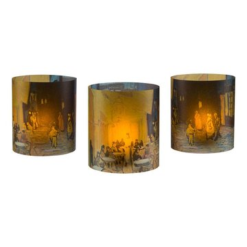 Tea light holders set of three Van Gogh Terrace of a café at night