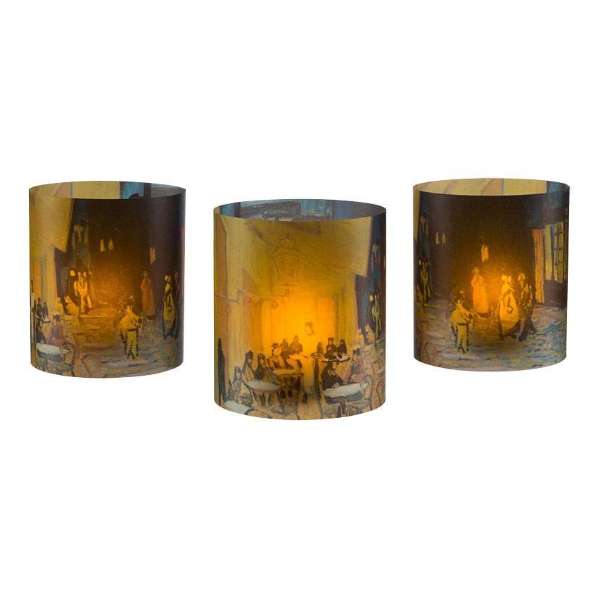 Tea light holders set of three Van Gogh Terrace of a café at night