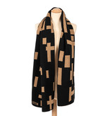 Sjaal katoen Mondriaan camel zwart