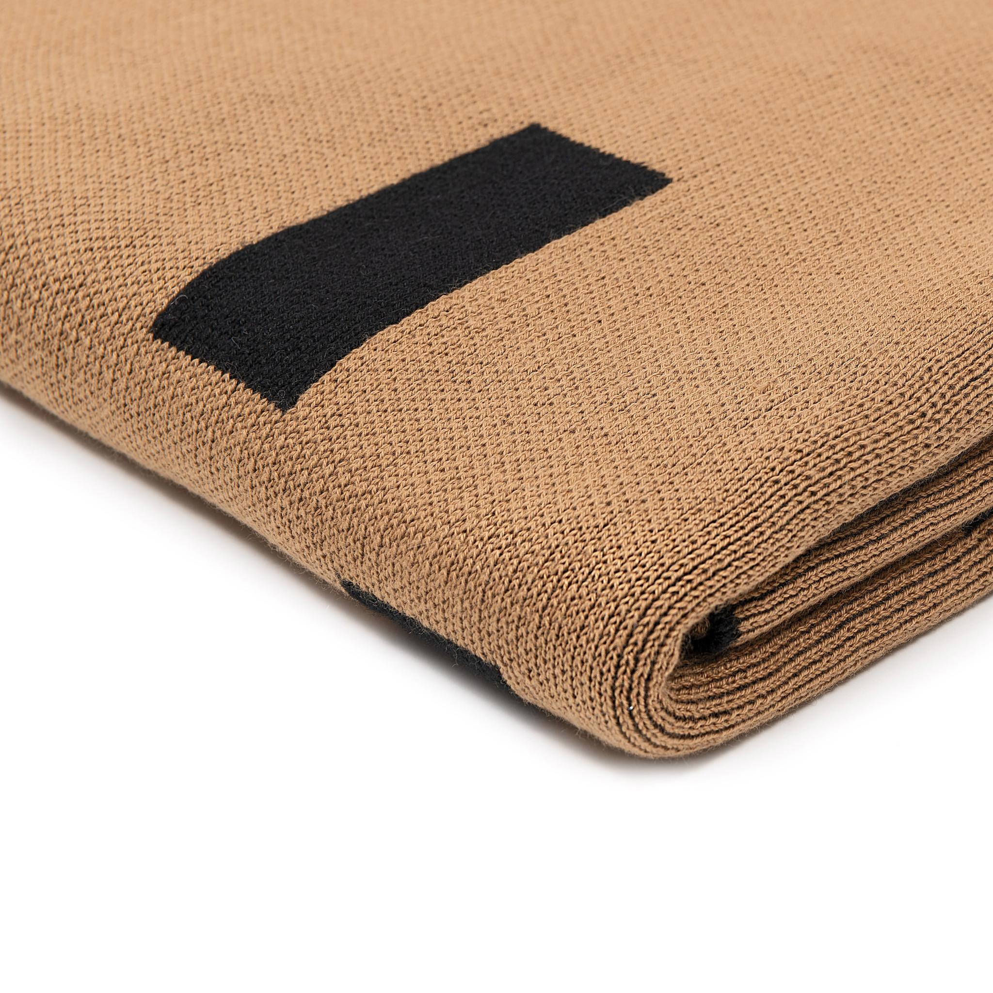 Scarf cotton Mondriaan camel black