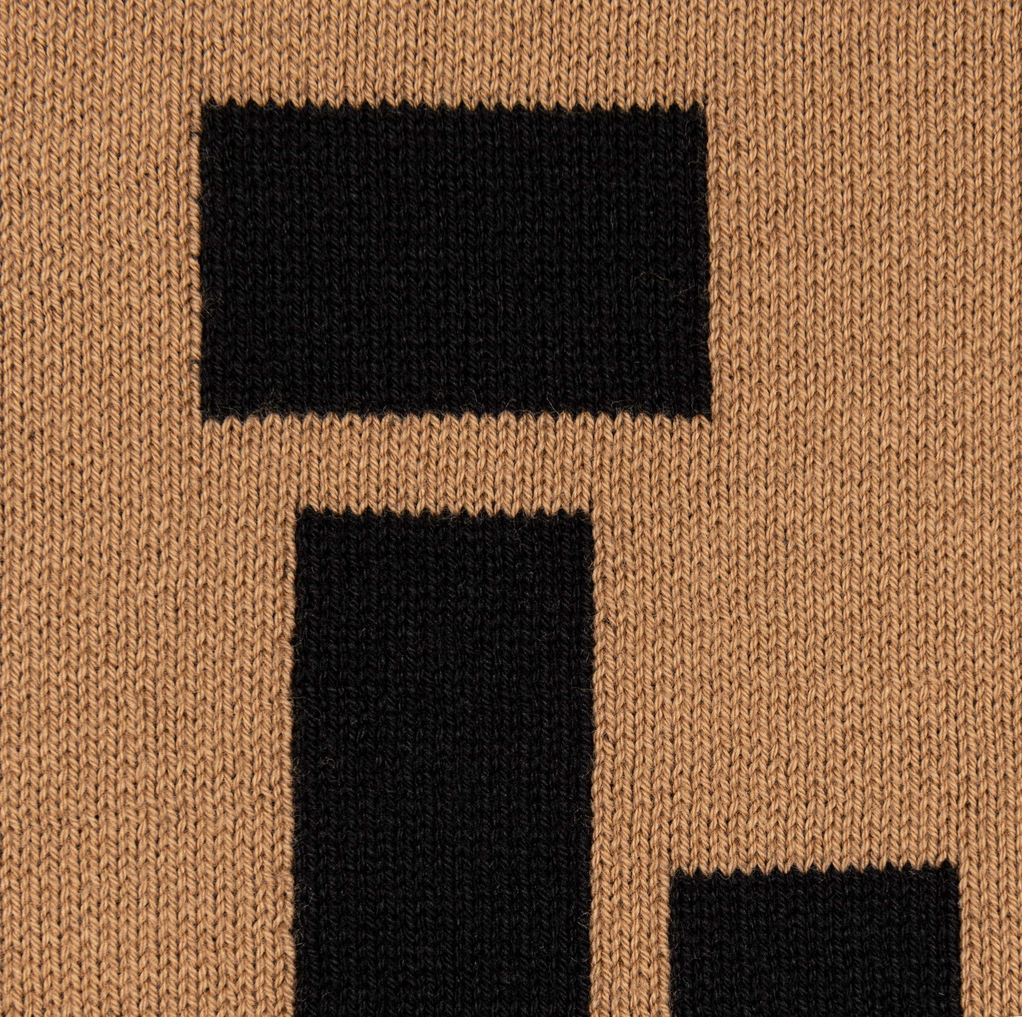 Plaid Mondriaan camel zwart