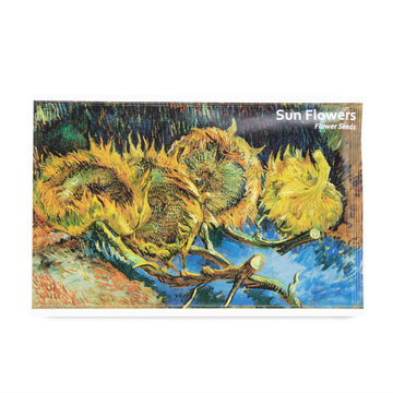 Postkaart met zaadjes Van Gogh Vier uitgebloeide zonnebloemen
