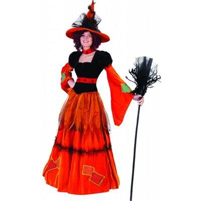 Rode pompoen heks kostuums voor Halloween