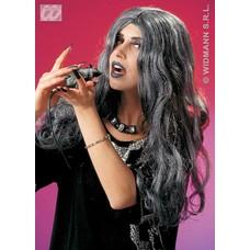 Halloweenaccessoires pruik heks Crudelia grijs