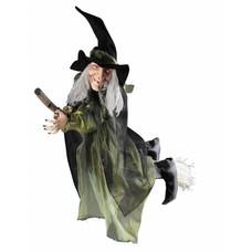 Halloweenkleding: Hangdeco heks op bezemsteel 100cm