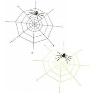 Halloweenaccessoires gigantisch spinneweg (220cm) met oplichtende spin