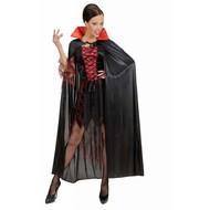 Halloweenaccessoires zwarte cape met rode kraag