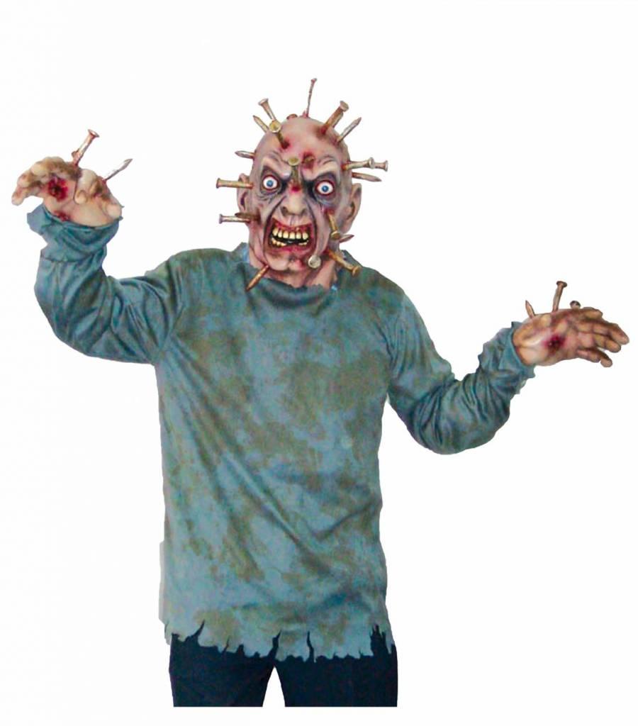 Enge Halloween Kostuums.Man Met Spijkers In Hoofd Kstuum Voor Halloween