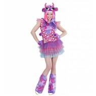 Halloweenkostuum roze monster meisje