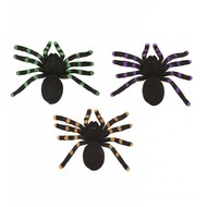 Halloweenaccessoires set van 2 spinnen met glitter accenten 24cm