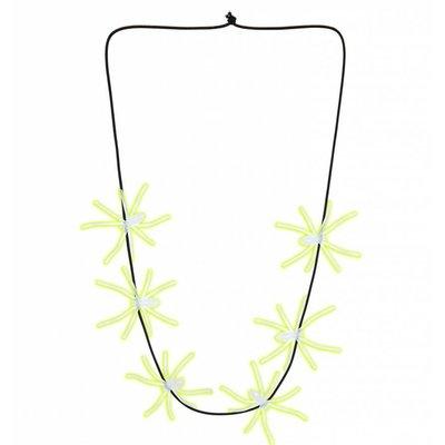 Halloweenaccessoires ketting spinnen lichtgevend in donker 60cm