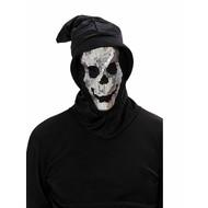 Halloweenmaskers: Schedelmasker met kap en pailletten