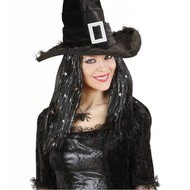Halloweenaccessoires pruik heks met zilveren sterretjes